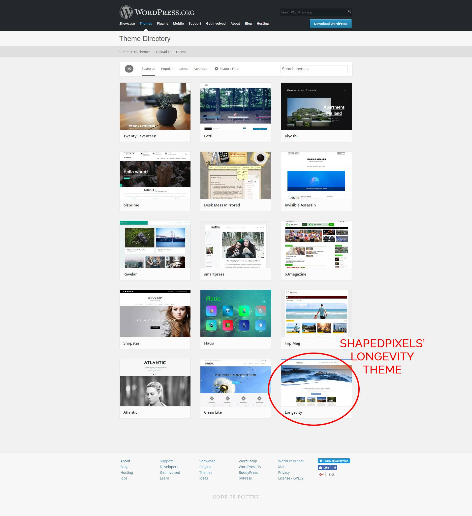 Longevity theme Featured on front page of WP.org themes repository