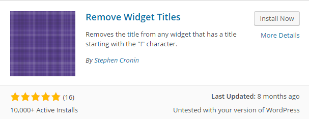 remove widget titles plugin
