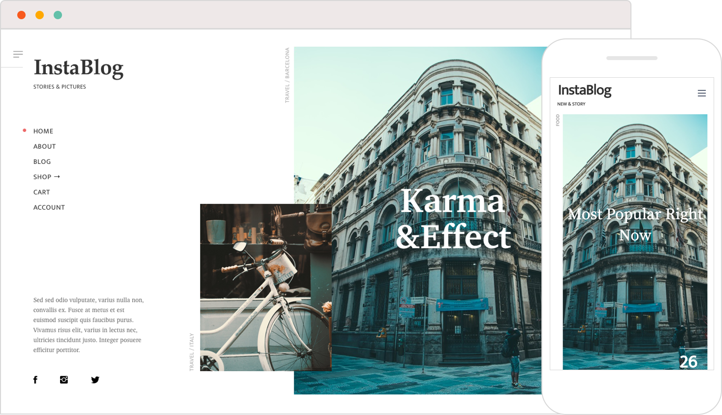 Brand new minimalist blogging WP theme for Instagram lovers