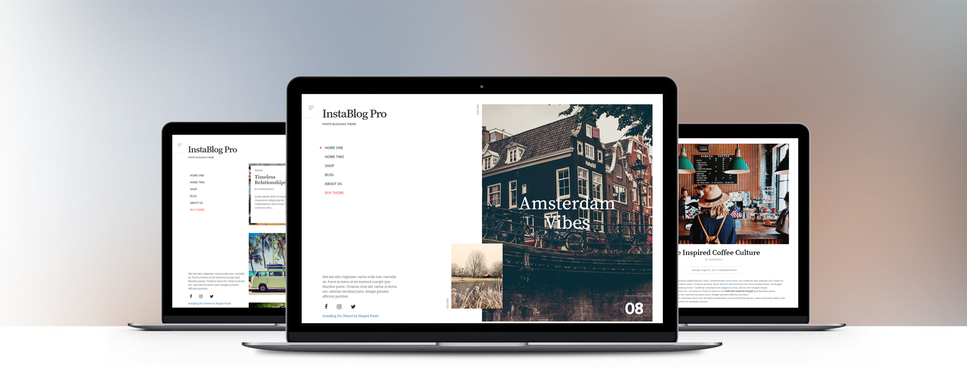 instablog minimalist social blogging wordpress theme