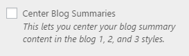 blog center setting