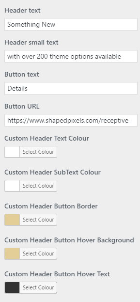 header text settings