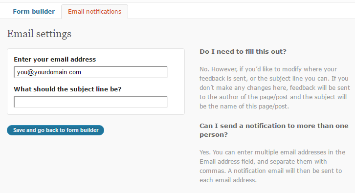 contact email settings