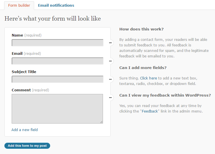 contact form create
